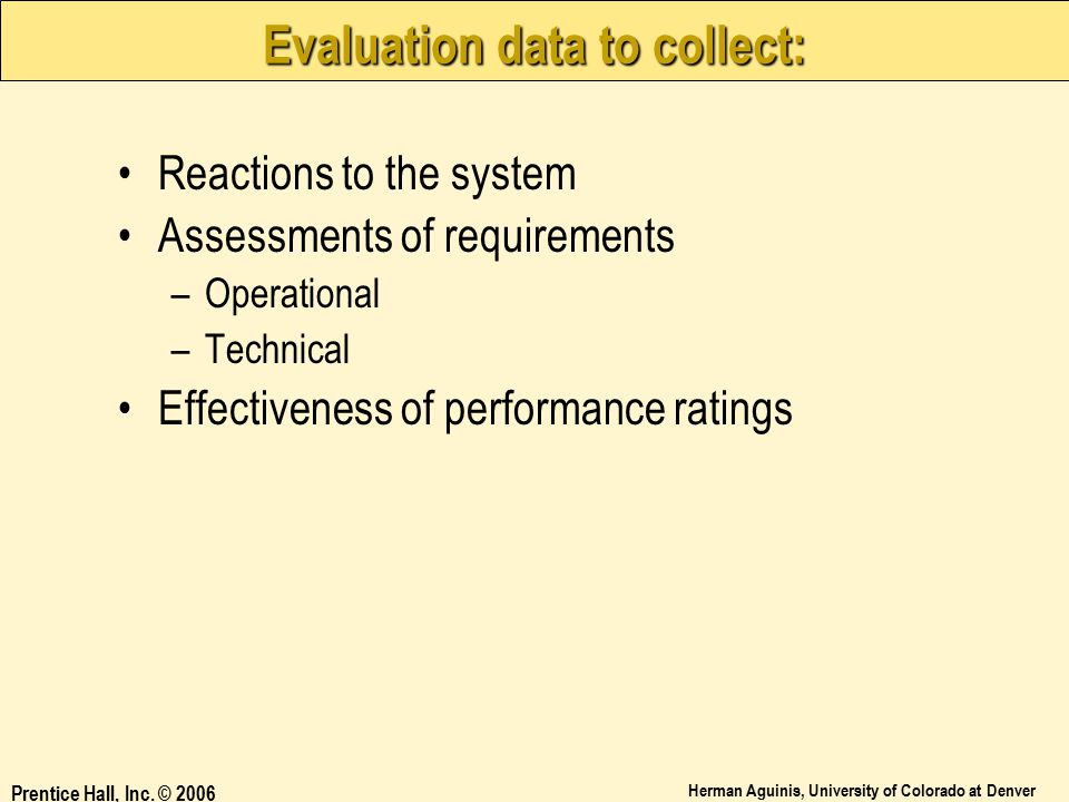 Evaluation data to collect: