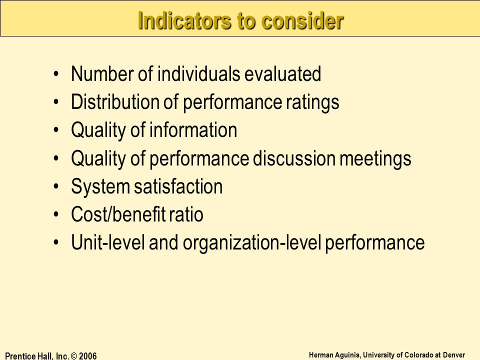 Indicators to consider