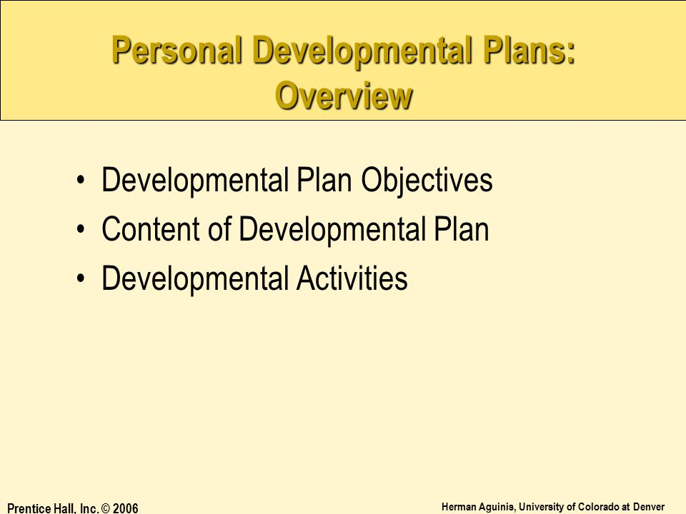 Personal Developmental Plans: Overview