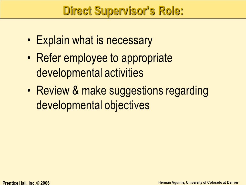 Direct Supervisor's Role: