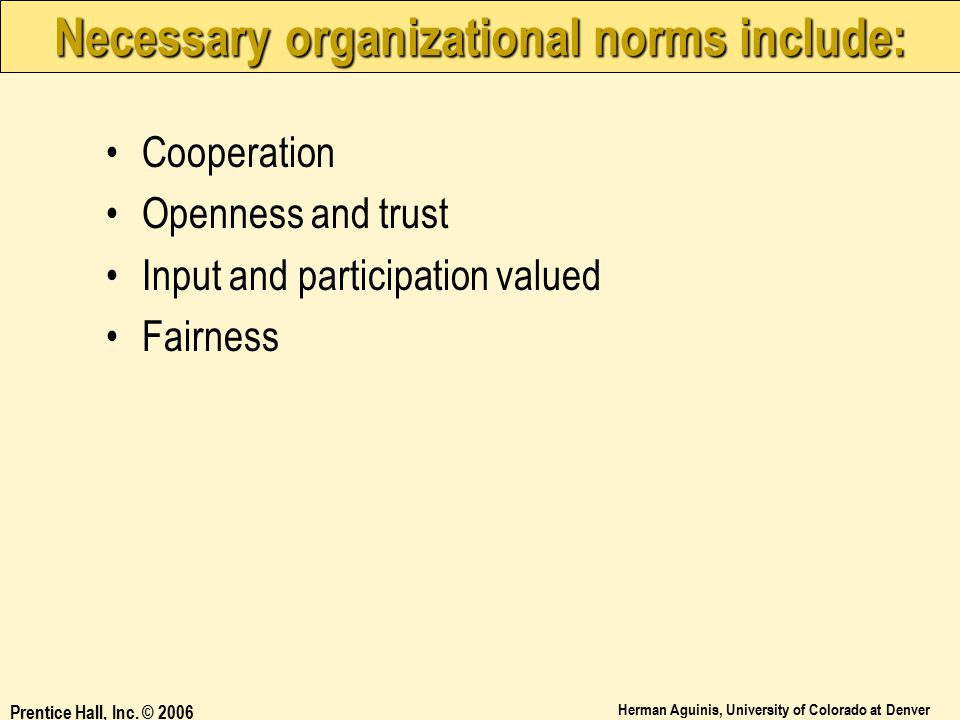 Necessary organizational norms include: