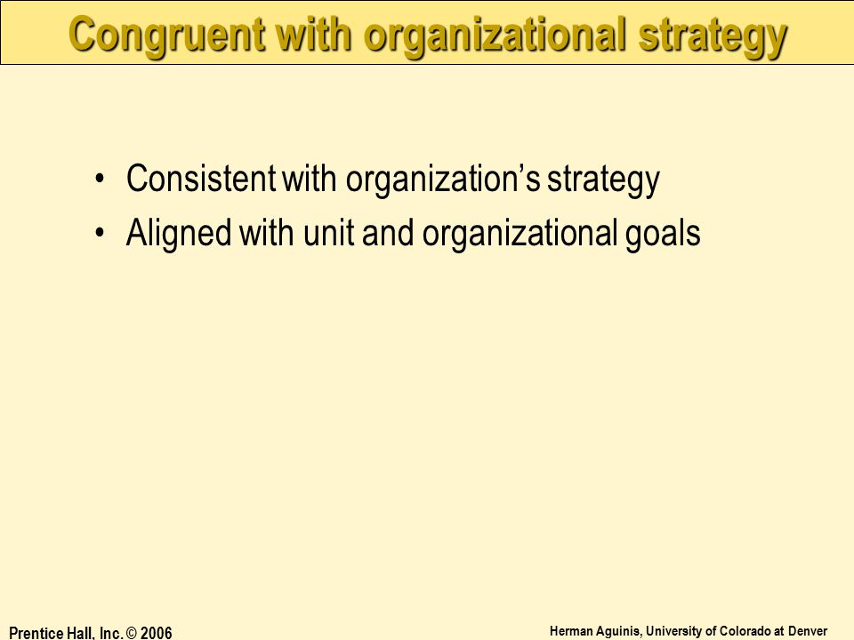 Congruent with organizational strategy