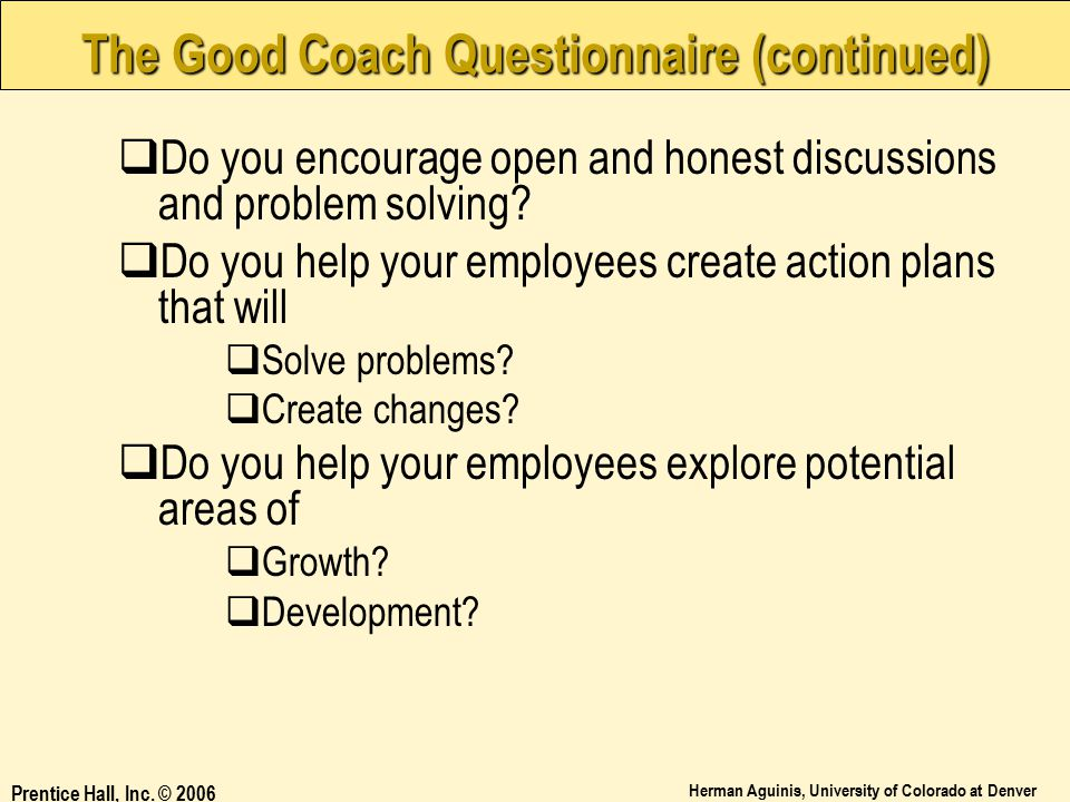 The Good Coach Questionnaire (continued)