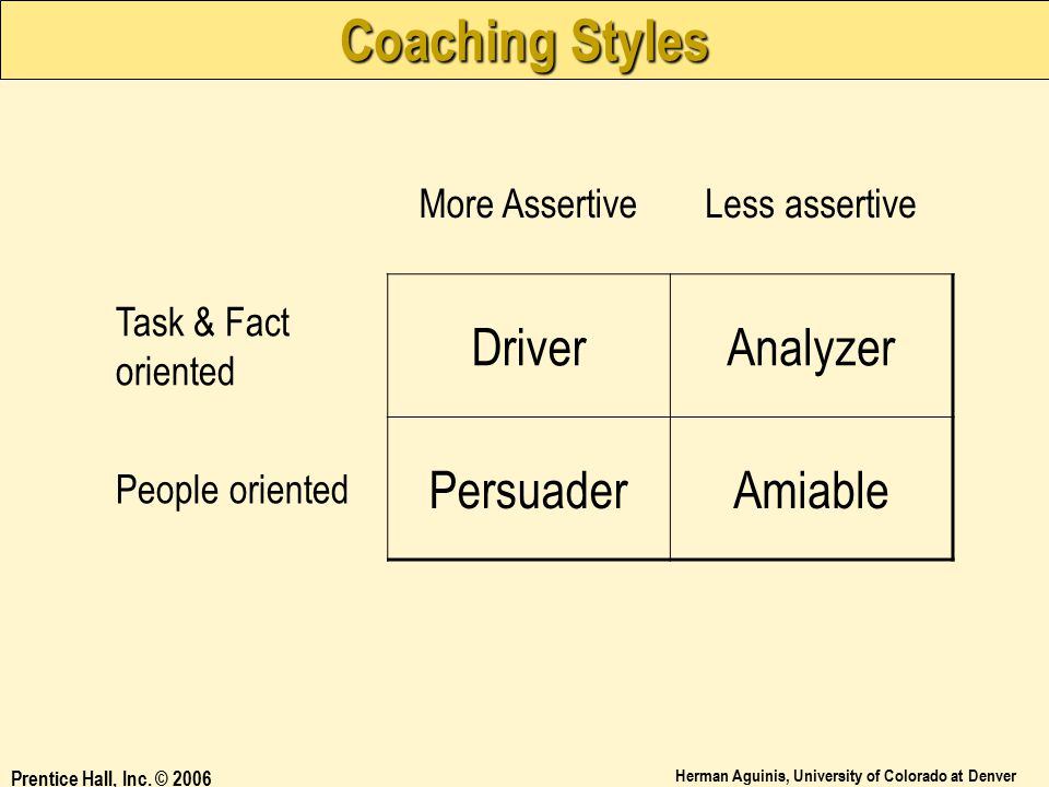 Coaching Styles Driver Analyzer Persuader Amiable More Assertive