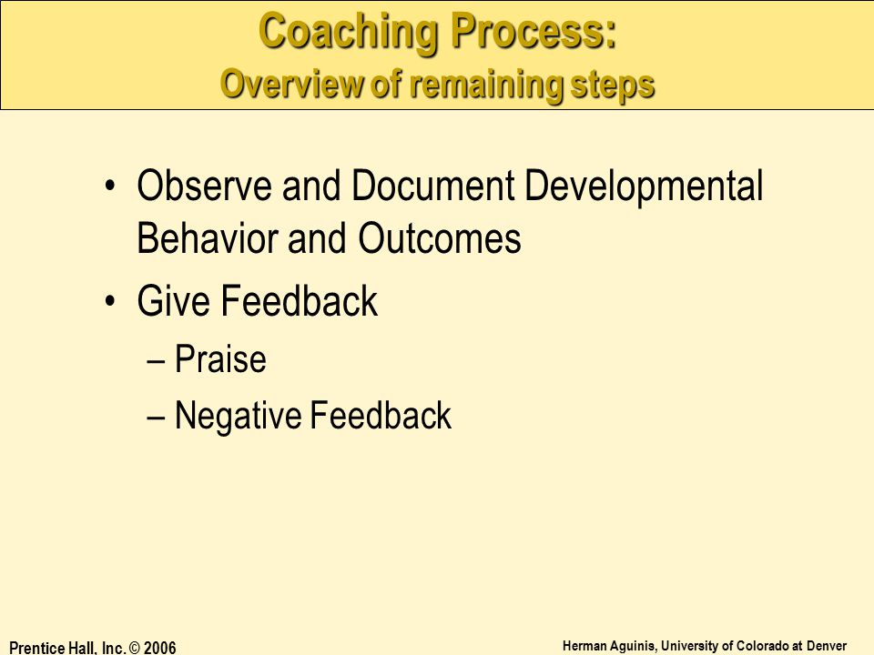 Coaching Process: Overview of remaining steps