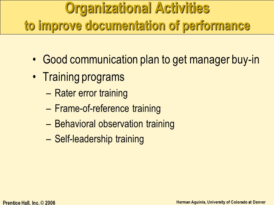 Organizational Activities to improve documentation of performance