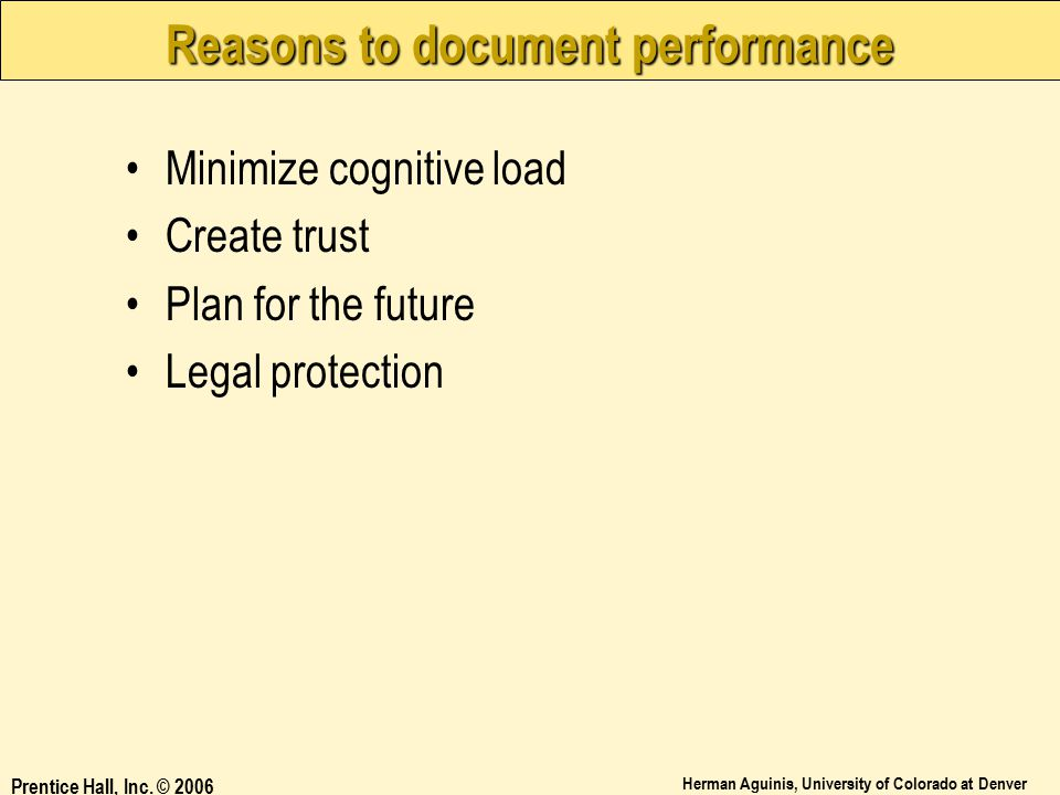 Reasons to document performance