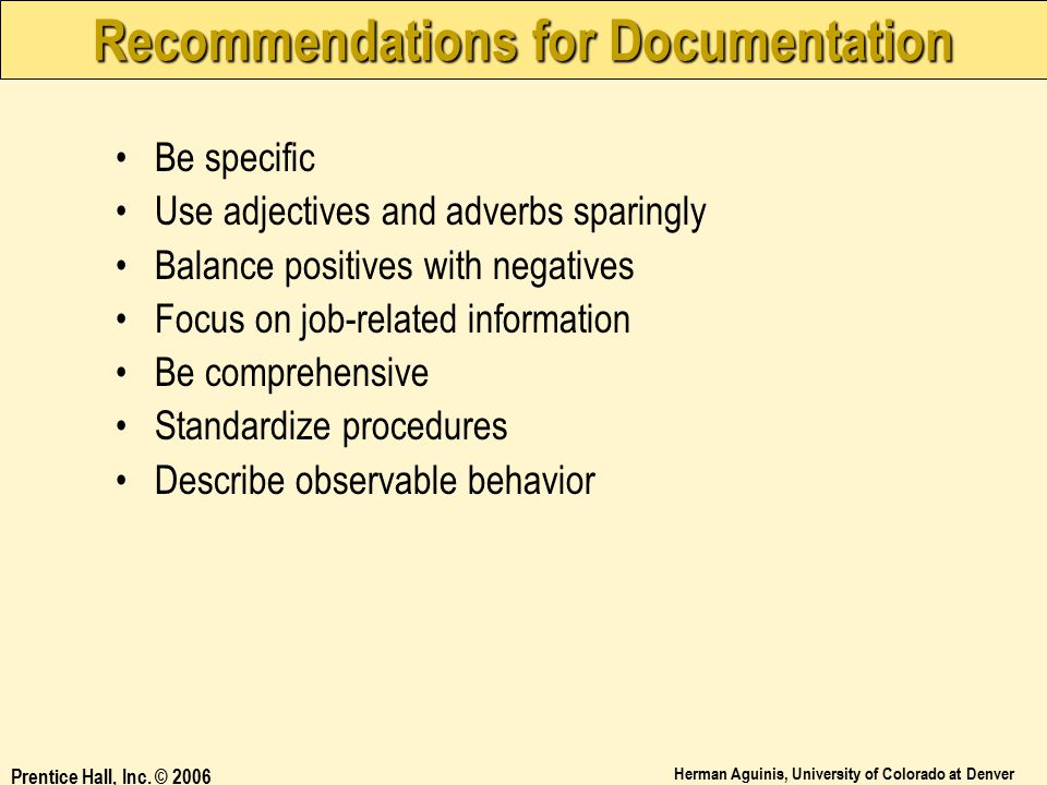 Recommendations for Documentation