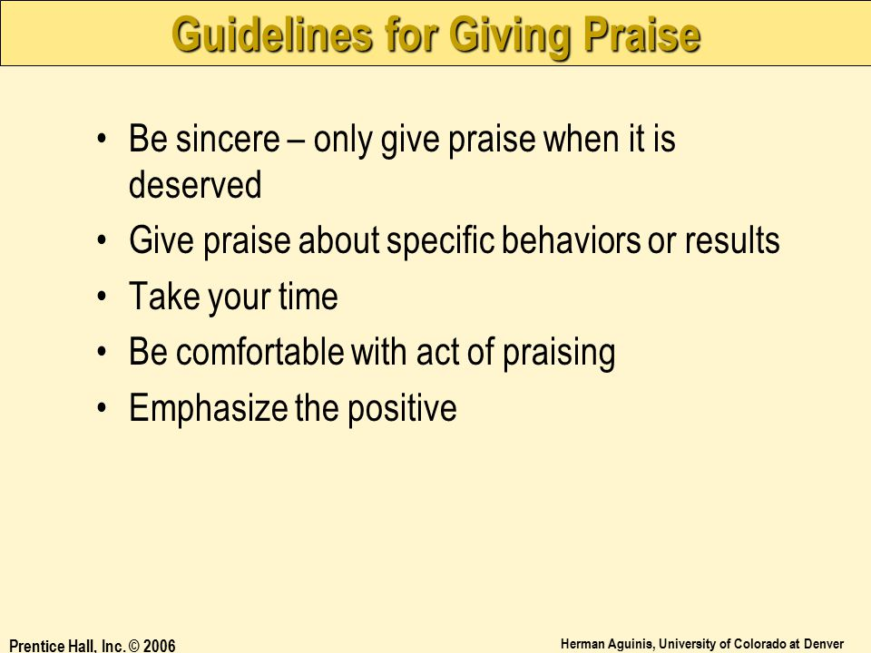 Guidelines for Giving Praise