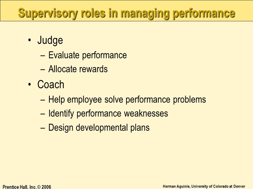Supervisory roles in managing performance