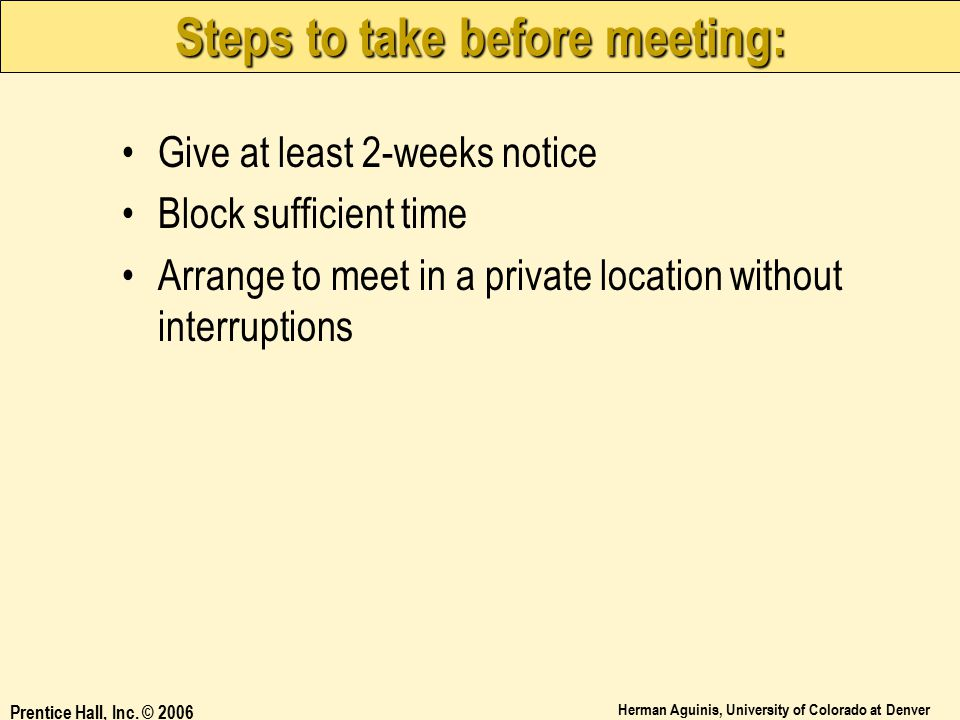 Steps to take before meeting: