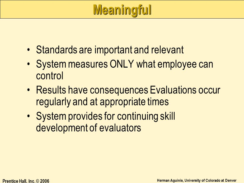 Meaningful Standards are important and relevant