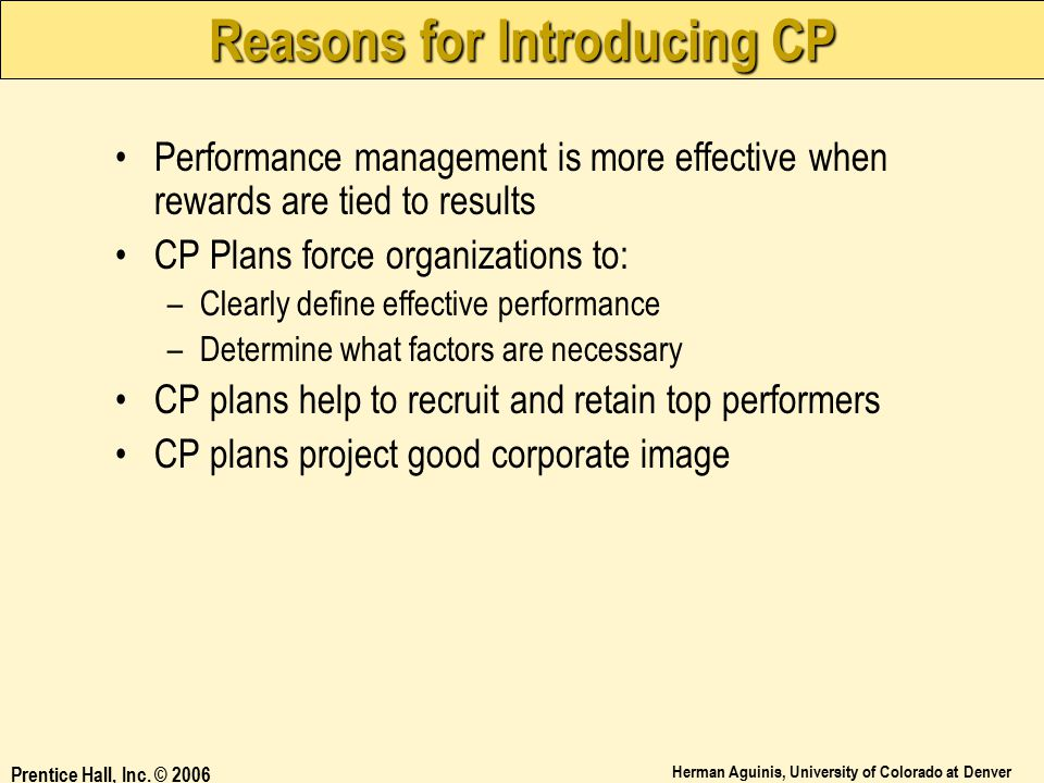 Reasons for Introducing CP