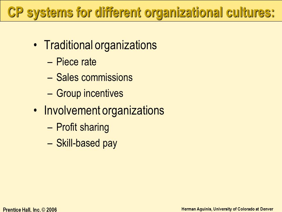 CP systems for different organizational cultures: