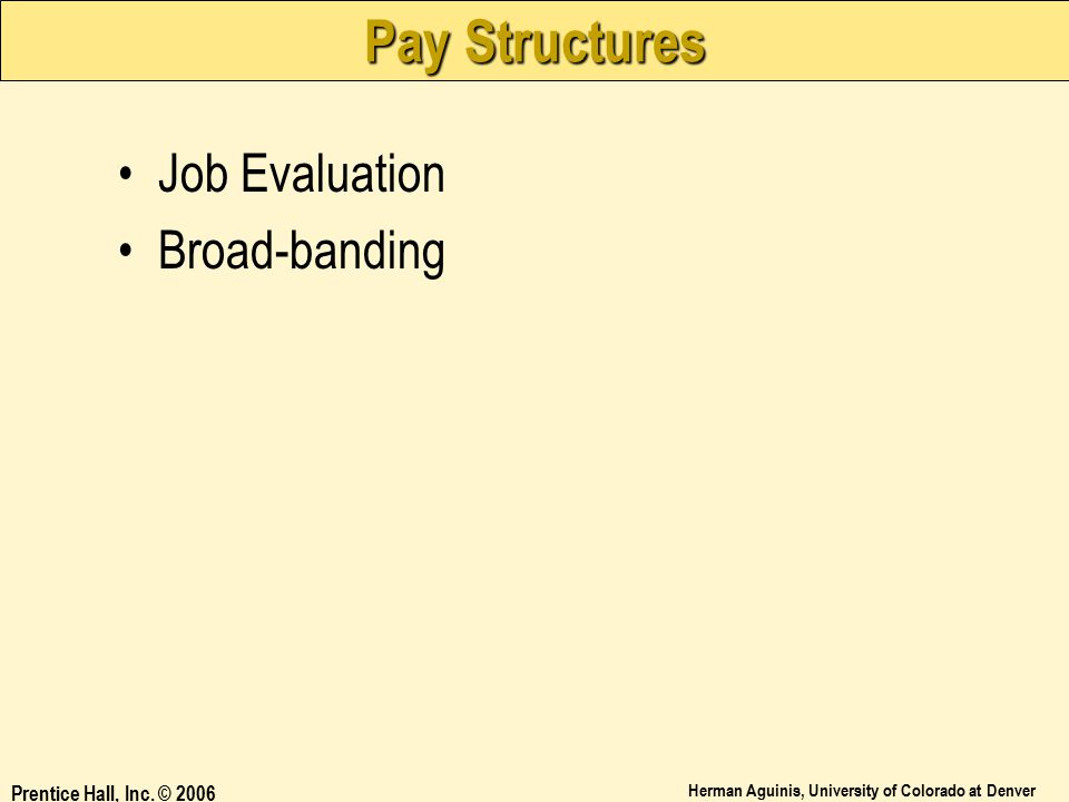 Pay Structures Job Evaluation Broad-banding Prentice Hall, Inc. © 2006