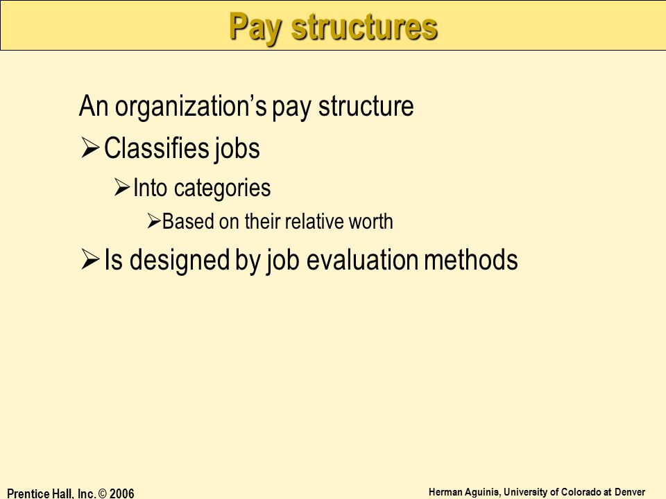 Pay structures An organization's pay structure Classifies jobs