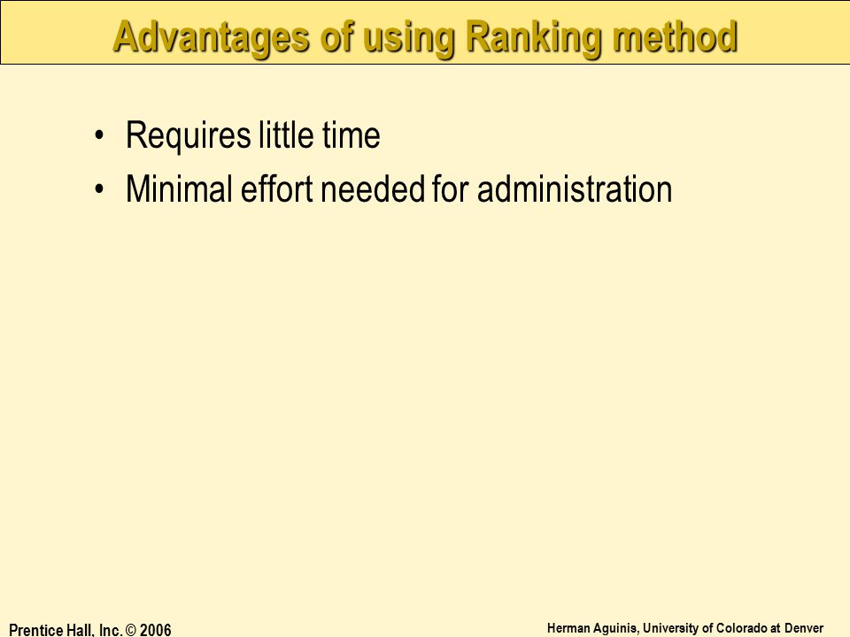 Advantages of using Ranking method