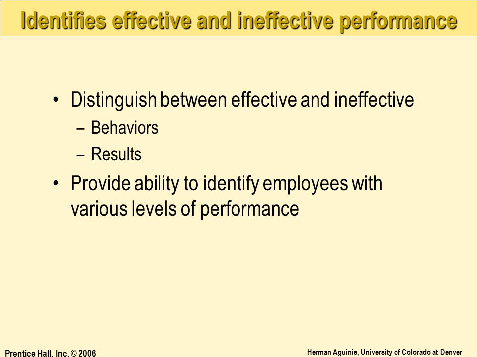 Identifies effective and ineffective performance