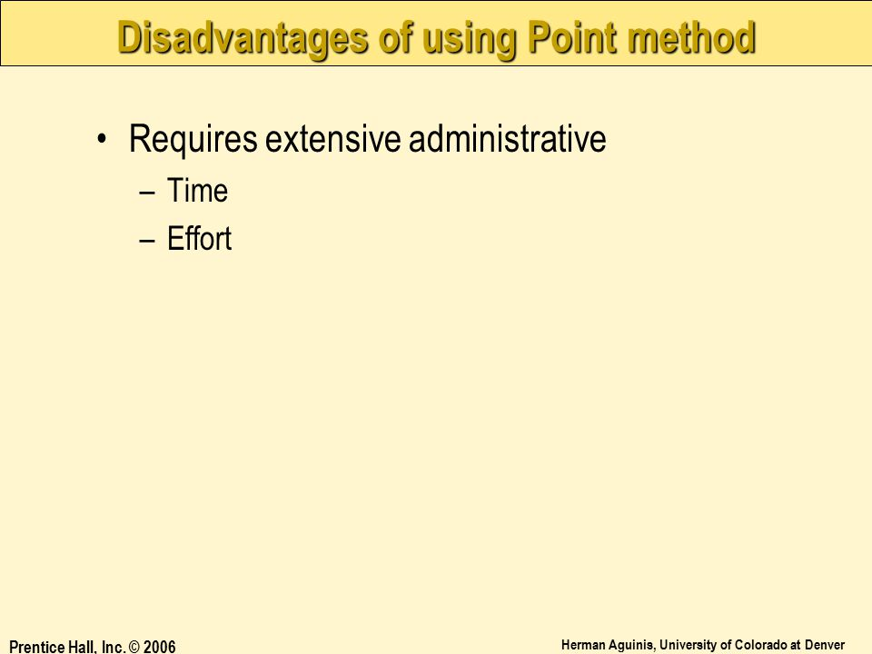Disadvantages of using Point method