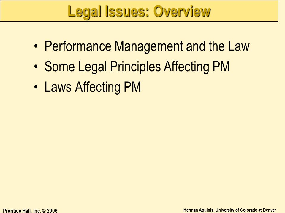 Legal Issues: Overview
