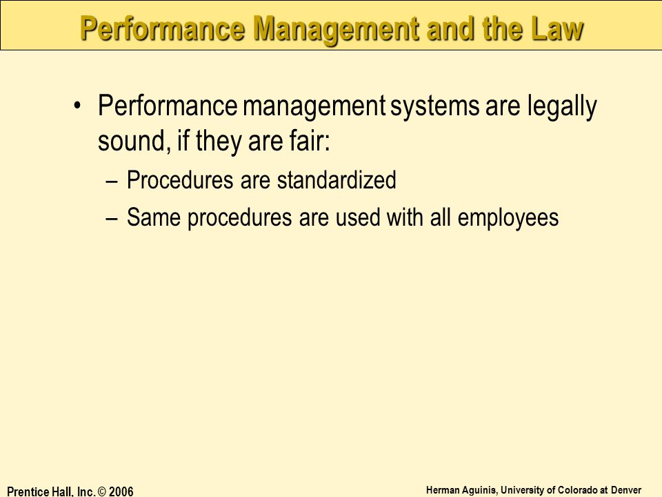 Performance Management and the Law
