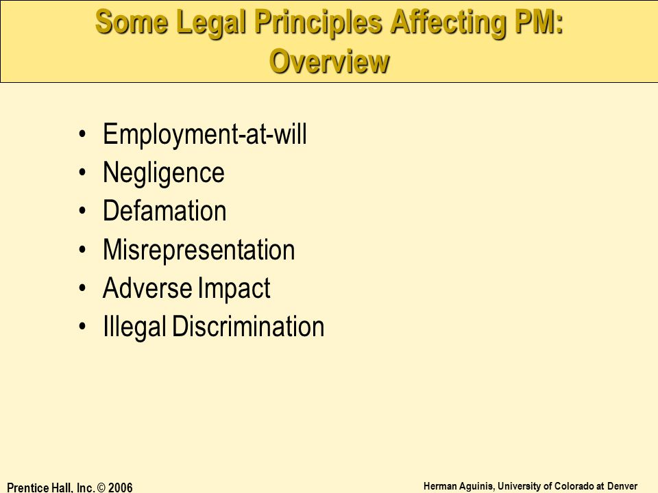 Some Legal Principles Affecting PM: Overview