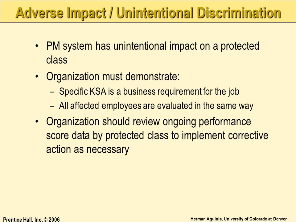 Adverse Impact / Unintentional Discrimination