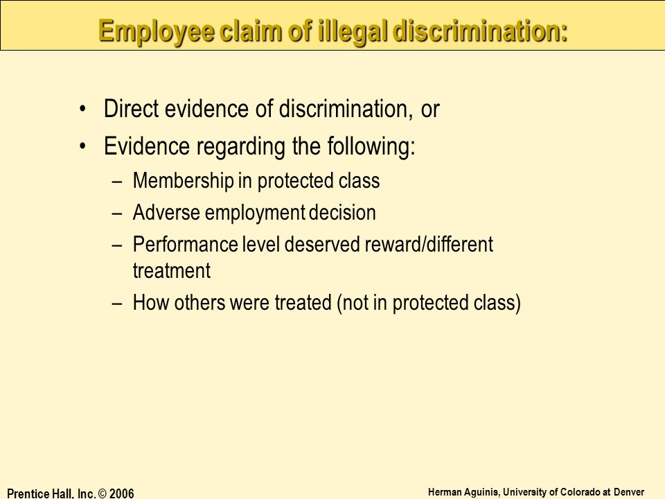 Employee claim of illegal discrimination:
