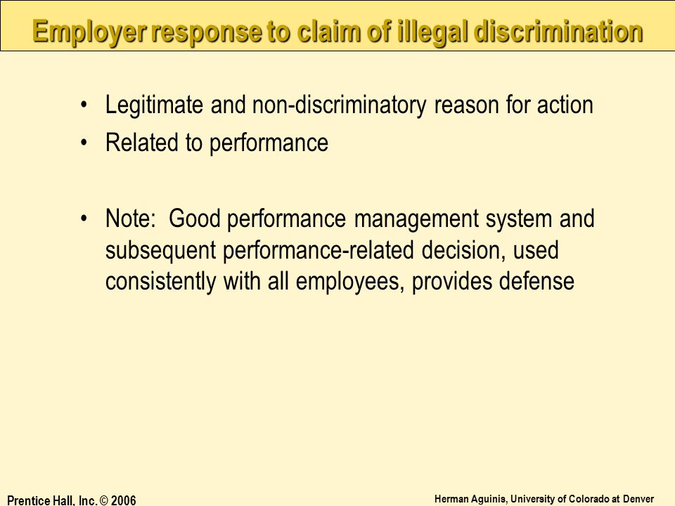 Employer response to claim of illegal discrimination