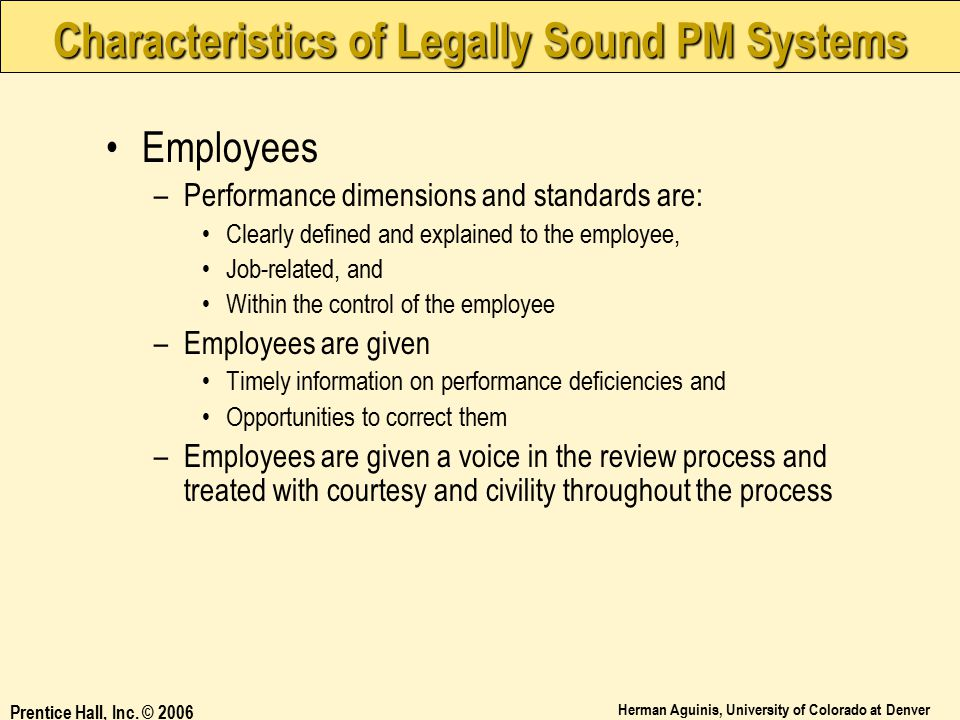 Characteristics of Legally Sound PM Systems