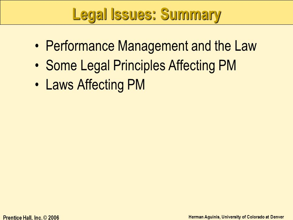 Legal Issues: Summary Performance Management and the Law
