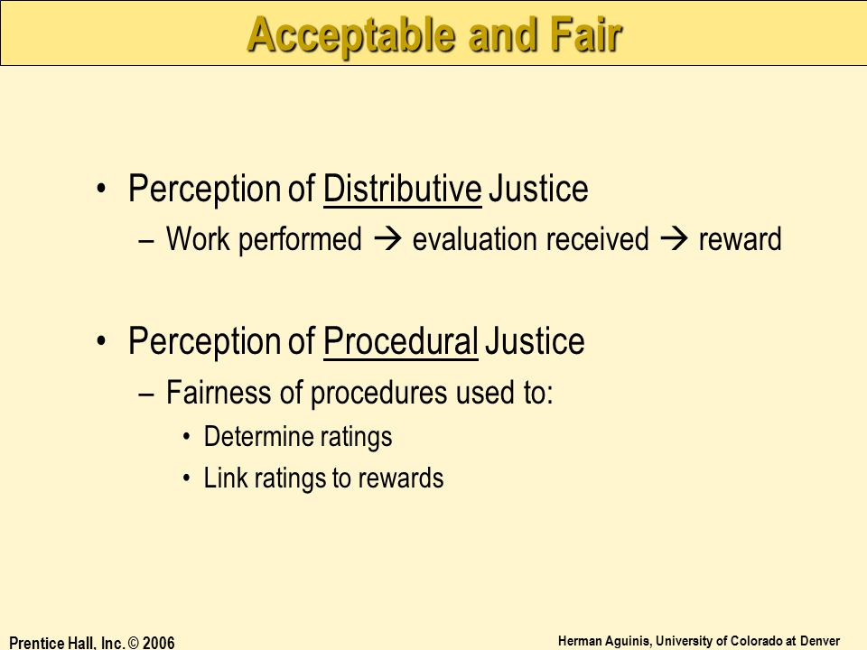 Acceptable and Fair Perception of Distributive Justice