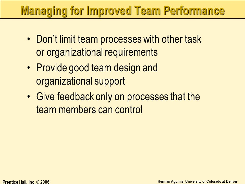 Managing for Improved Team Performance