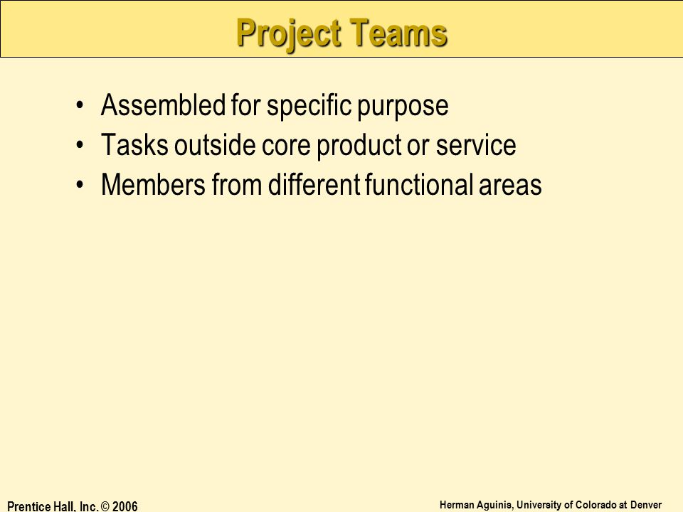Project Teams Assembled for specific purpose