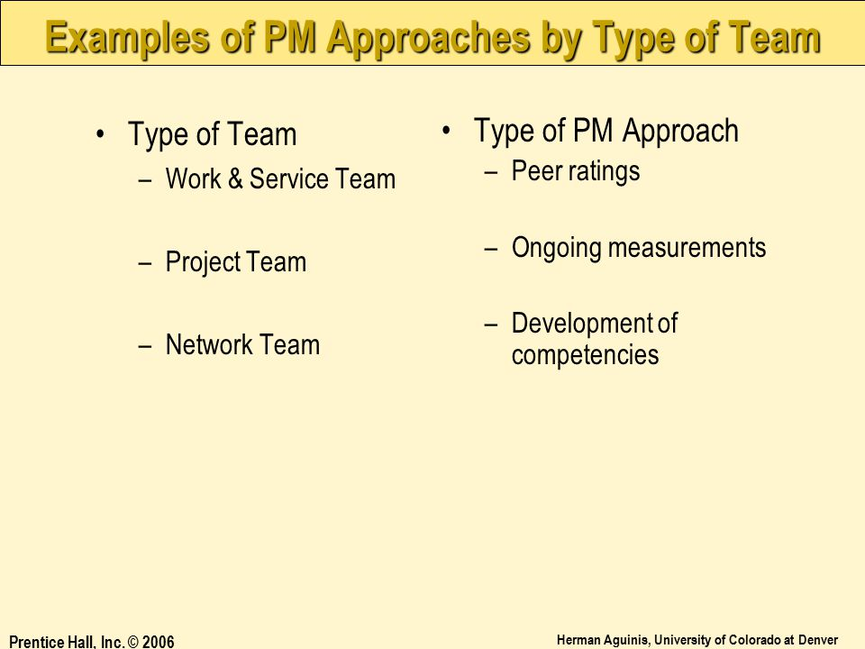 Examples of PM Approaches by Type of Team