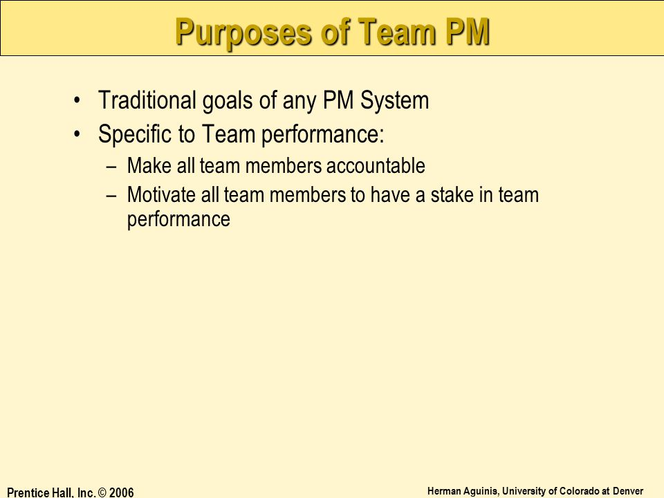 Purposes of Team PM Traditional goals of any PM System