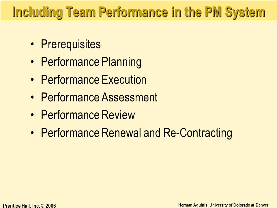 Including Team Performance in the PM System