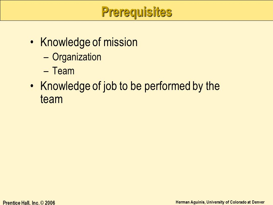 Prerequisites Knowledge of mission
