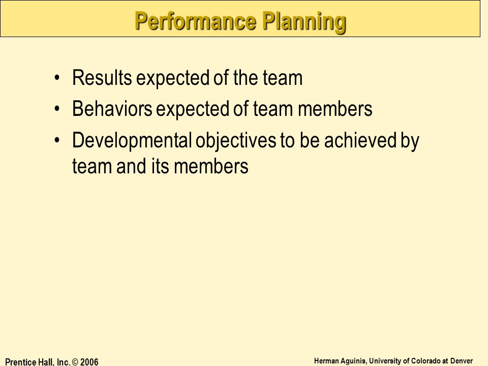 Performance Planning Results expected of the team