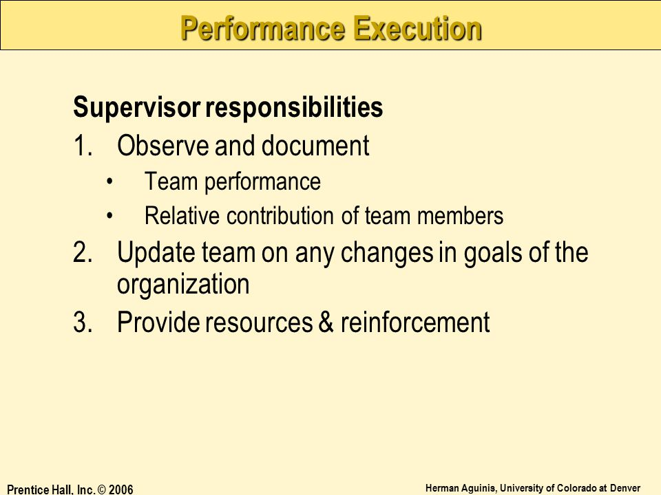 Performance Execution