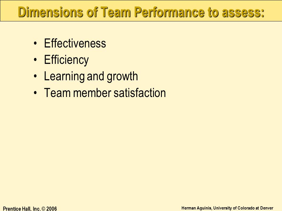 Dimensions of Team Performance to assess: