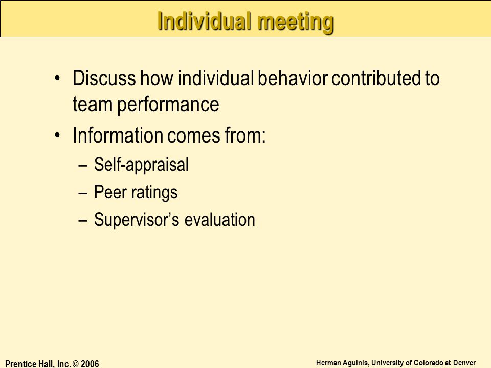 Individual meeting Discuss how individual behavior contributed to team performance. Information comes from:
