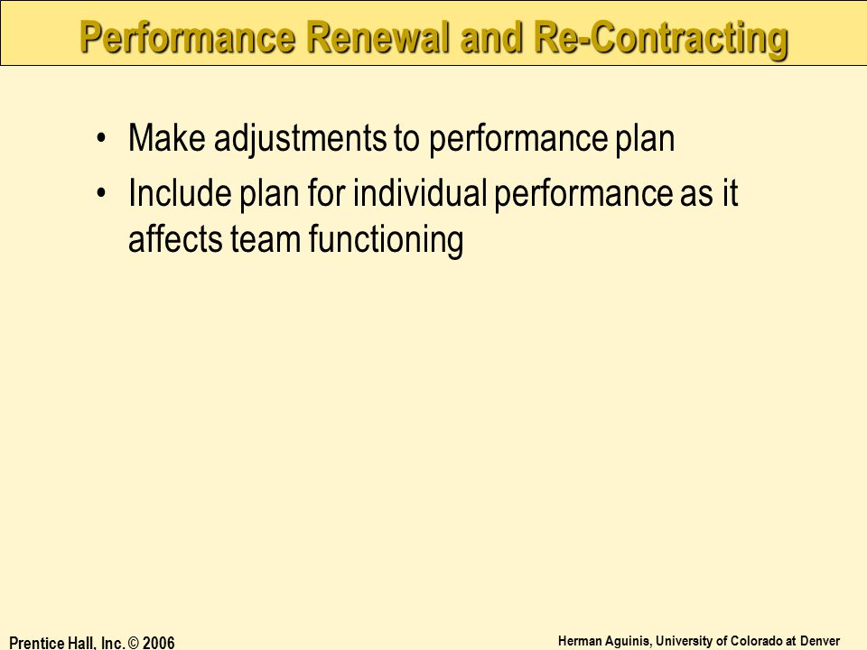 Performance Renewal and Re-Contracting
