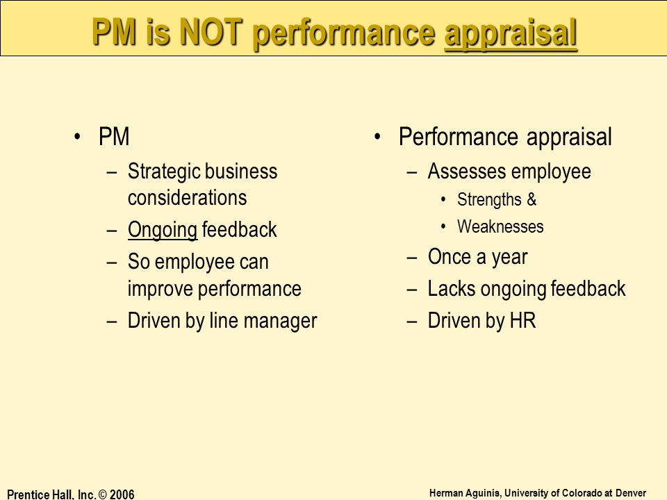 PM is NOT performance appraisal