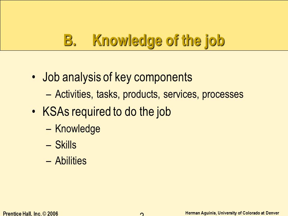 B. Knowledge of the job Job analysis of key components