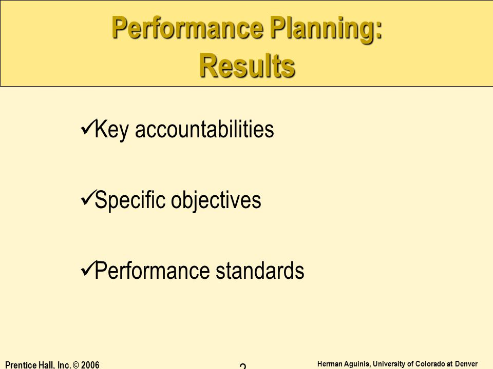 Performance Planning: Results