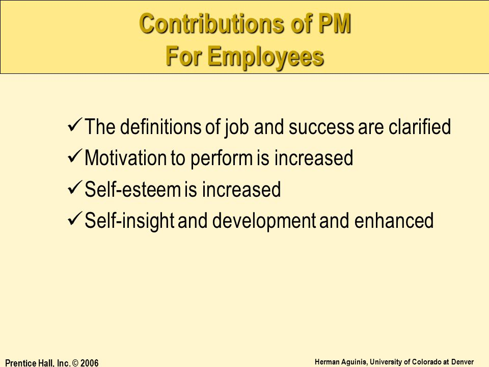 Contributions of PM For Employees