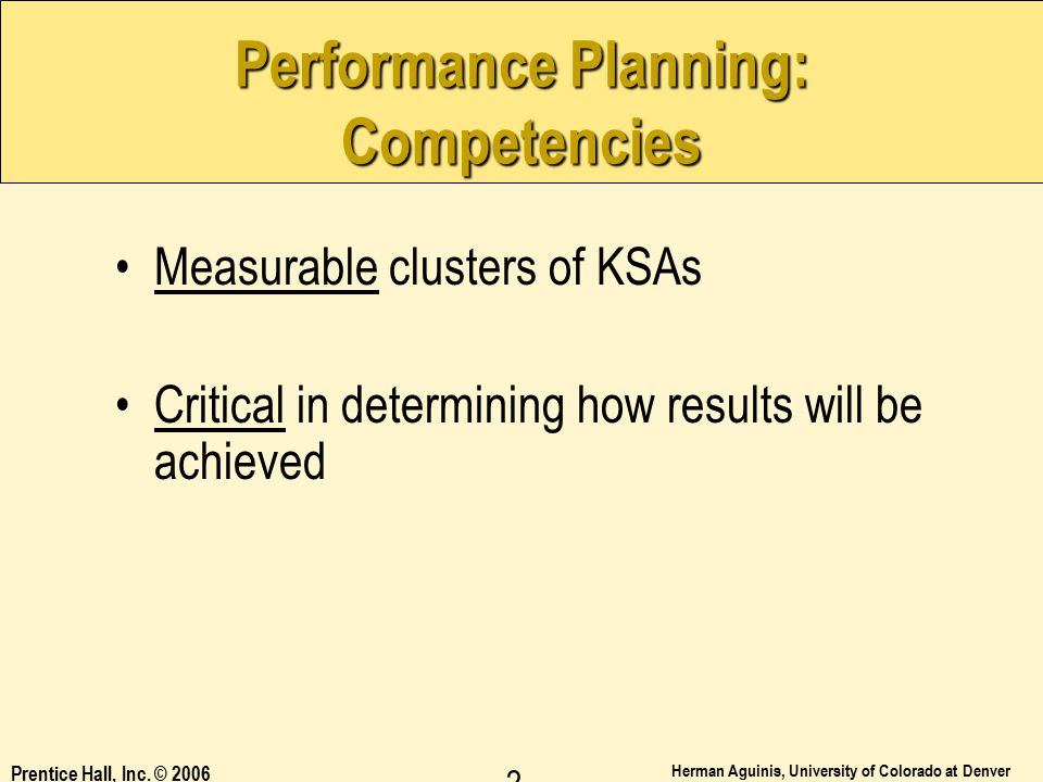 Performance Planning: Competencies
