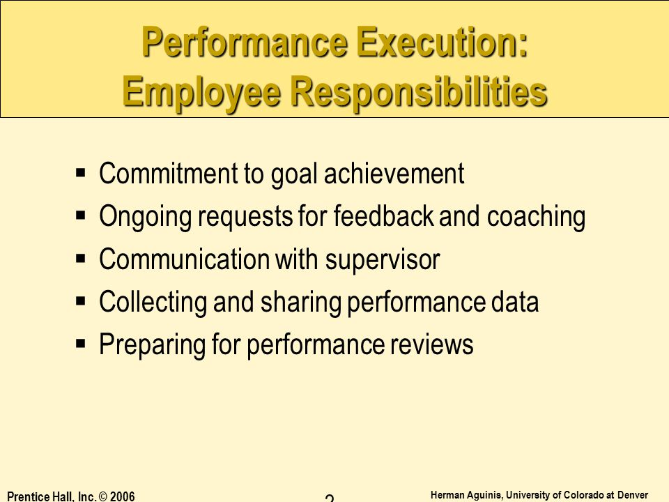 Performance Execution: Employee Responsibilities