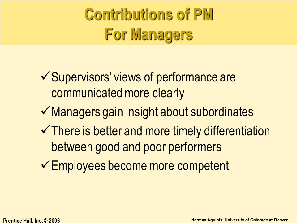 Contributions of PM For Managers